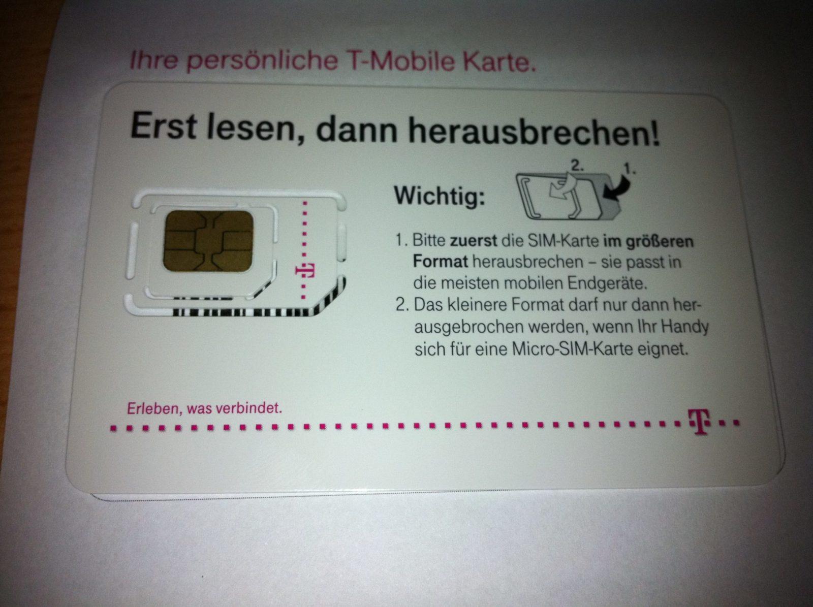 T-Mobile Sim Karte herausbrechen