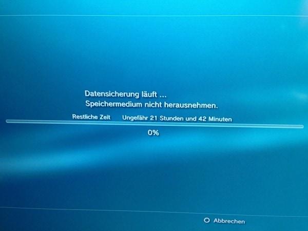 Datensicherung Playstation 3 auf externe Festplatte