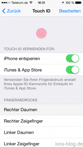 Touch ID Einstellung iPhone 5S