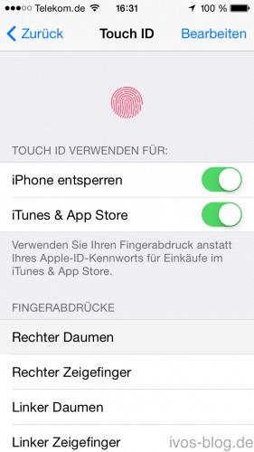 Touch ID Einstellung iPhone 5S