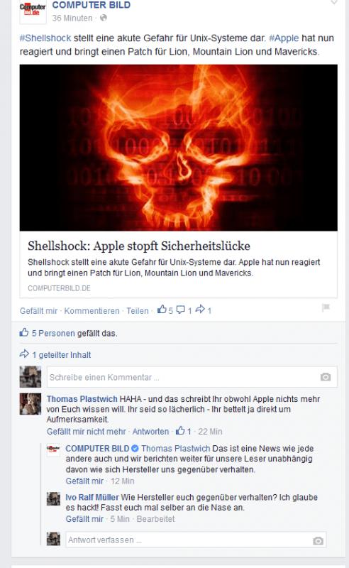 COMPUTER BILD Ivos Facebook Kommentar noch da.
