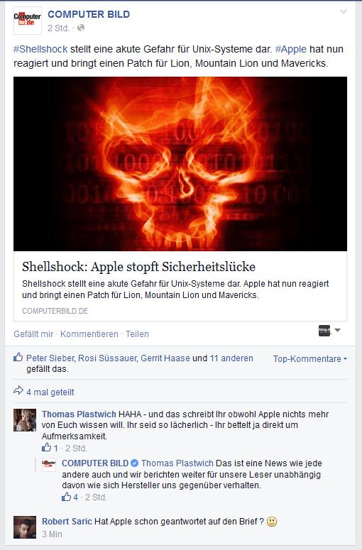 COMPUTER BILD Ivos Facebook Kommentar noch weg.