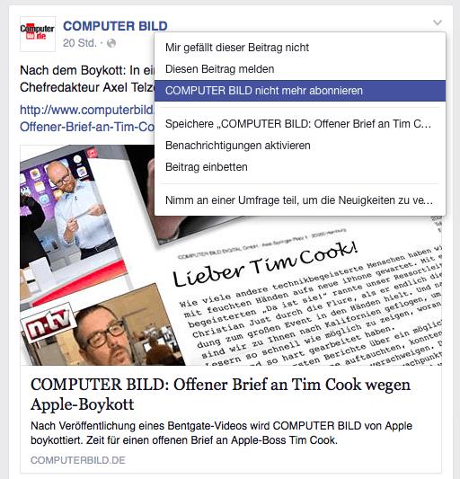 COMPUTER BILD auf Facebook nicht mehr abonnieren