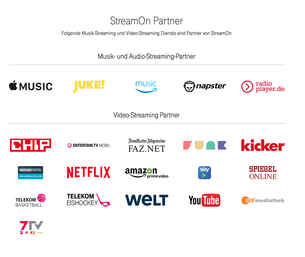 StreamOn Partner Telekom April 2017