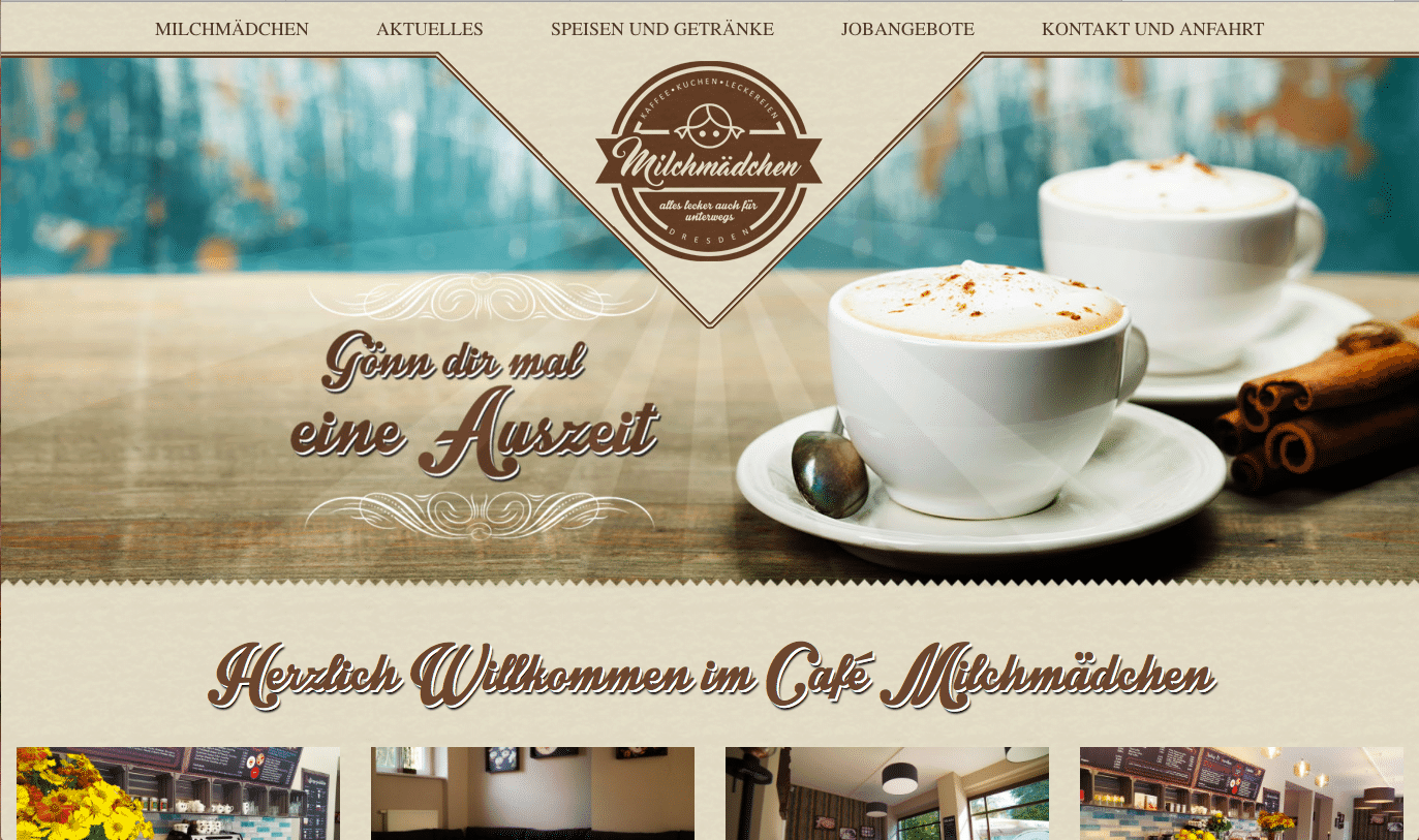 Webseite von Cafe Milchmaedchen April 2017